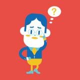 Projeto da ilustração do caráter Homem de negócios que tem o carto da pergunta ilustração stock