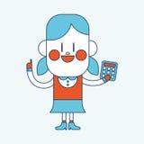 Projeto da ilustração do caráter Menina que usa os desenhos animados da calculadora, eps ilustração royalty free