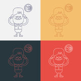 Projeto da ilustração do caráter O menino foi proibido para falar o carto Foto de Stock
