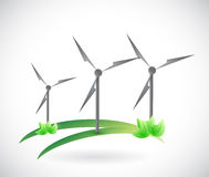 Projeto da ilustração do conceito da natureza do moinho de vento Imagem de Stock