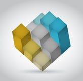projeto da ilustração do cubo do gráfico 3d Imagens de Stock Royalty Free