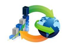 Projeto da ilustração do gráfico de negócio e do ciclo do globo Foto de Stock Royalty Free