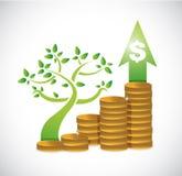 projeto da ilustração do gráfico do dólar da moeda da árvore Imagem de Stock