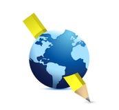 Projeto da ilustração do lápis e do globo ilustração stock