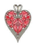 Projeto da joia alto - pendente do coração da extremidade ilustração royalty free