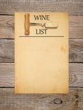 Projeto da lista de vinho Fotos de Stock Royalty Free