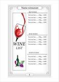 Projeto da lista de vinho Fotos de Stock