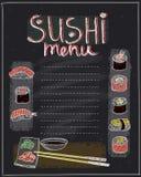 Projeto da lista do menu do sushi do giz ilustração royalty free