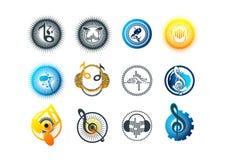 projeto da música, do logotipo, do karaoke, do símbolo, da batida, do ícone e de conceito do som ilustração stock