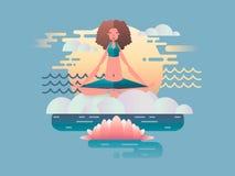 Projeto da meditação da mulher liso Imagens de Stock