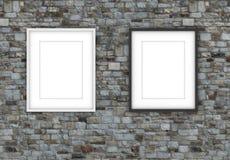 projeto da moldura para retrato 3D no fundo da parede Aperfeiçoe para suas apresentações Textura para o fundo educacional ou do n ilustração royalty free