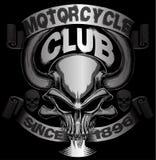 Projeto da motocicleta do projeto gráfico da camisa do crânio T Fotografia de Stock Royalty Free