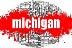 Projeto da nuvem da palavra de Michigan Imagens de Stock