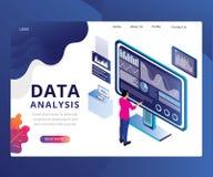 Projeto da página da aterrissagem da análise de dados ilustração do vetor
