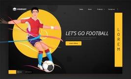 Projeto da página da aterrissagem do competiam do futebol ilustração royalty free