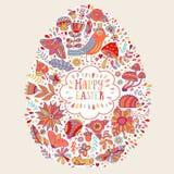 Projeto da Páscoa do vetor Cartão floral da Páscoa feliz Fundo brilhante do feriado da garatuja feito das flores, dos pássaros, d Fotografia de Stock Royalty Free