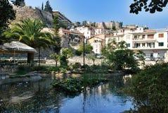 Projeto da paisagem com cachoeira no centro de Nafplion Imagem de Stock Royalty Free