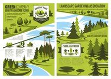 Projeto da paisagem e cartazes de jardinagem da associação ilustração royalty free