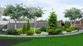 Projeto da paisagem da propriedade, ilustração 3d ilustração stock