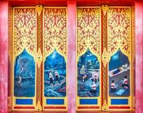 Projeto da pintura do vintage em portas de madeira antigas Fotografia de Stock