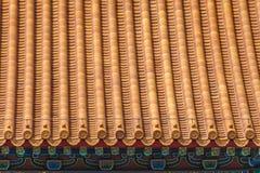Projeto da placa do telhado na Cidade Proibida, Pequim Fotos de Stock Royalty Free