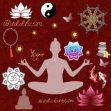 Projeto da religião do budismo com símbolos santamente, Mulher na posição de lótus, carpa do koi, rosário ilustração royalty free