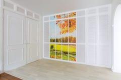 Projeto da sala da luz de Minimalistic com outono da imagem Fotos de Stock Royalty Free