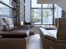 Projeto da sala da sala de estar da alto-tecnologia Fotografia de Stock