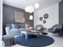 Projeto da sala de estar moderna Foto de Stock Royalty Free