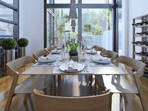 Projeto da sala de jantar de Luxurios Fotos de Stock