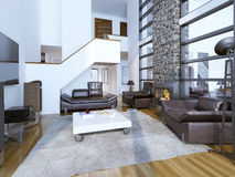 Projeto da sala de visitas moderna acolhedor Imagem de Stock