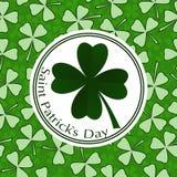 Projeto da tampa do cartão do vetor do dia do St Patricks Fotos de Stock Royalty Free