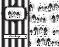 Projeto da tampa do vintage para a cópia com árvores, pássaros, teste padrão do parque Imagens de Stock Royalty Free
