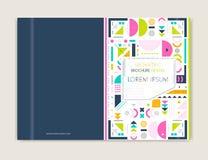 Projeto da tampa para o inseto do folheto do folheto Linha moderna arte do fundo Fundo colorido geométrico abstrato Tamanho A4 Fotos de Stock