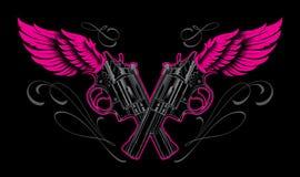 Projeto da tatuagem das armas e das asas Fotografia de Stock Royalty Free