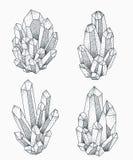 Projeto da tatuagem dos conjuntos do cristal Imagem de Stock