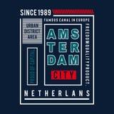 Projeto da tipografia das imagens da cidade de Amsterdão ilustração stock