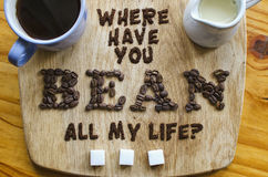 Projeto da tipografia do alimento do café Fotografia de Stock Royalty Free