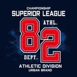 Projeto da tipografia do esporte do campeonato para a camisa de t ilustração do vetor
