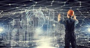 Projeto da tração do homem do construtor Meios mistos Imagem de Stock