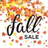 Projeto da venda da queda Cartaz sazonal do outono do disconto Fotografia de Stock