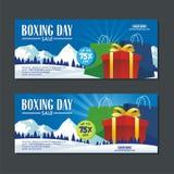 Projeto da venda da São Estêvão com caixas de presente, saco de papel, e paisagem nevado ilustração stock