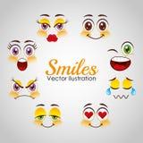 Projeto das caras do smiley Fotos de Stock