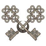 Projeto das chaves no de estilo celta Sinal da sabedoria ilustração royalty free