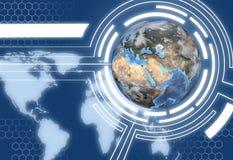 Projeto das comunicações do globo da terra da tecnologia ilustração do vetor
