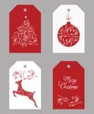 Projeto das etiquetas do Natal Ilustração desenhada mão do vetor Imagem de Stock