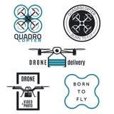Projeto das etiquetas e dos ícones do zangão Imagens de Stock Royalty Free