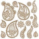 Projeto das garatujas de Henna Paisley Flowers Mehndi Tattoo Fotos de Stock Royalty Free