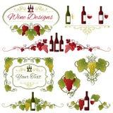 Projeto das uvas e do vinho do vetor Fotos de Stock
