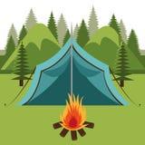 Projeto de acampamento, ilustração do vetor Foto de Stock Royalty Free